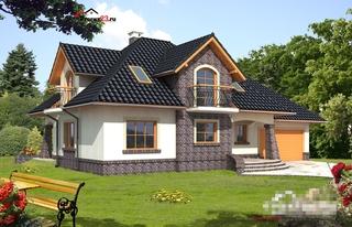 Combinatie de portocaliu si gri pentru fatada casei