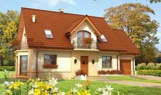Fatada casa clasica cu acoperis maro