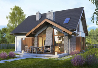 Fatada casa cu semineu mare exterior placat cu granit