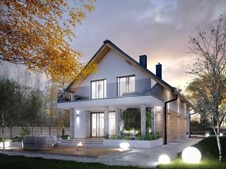 Fatada casa moderna alb tonuri deschise de lemn si sticla