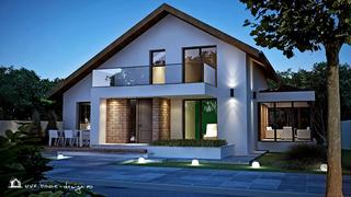 Fatada casa moderna cu balcoane de sticla