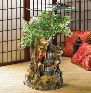 Masuta decorativa cu elemente naturale si blat de sticla