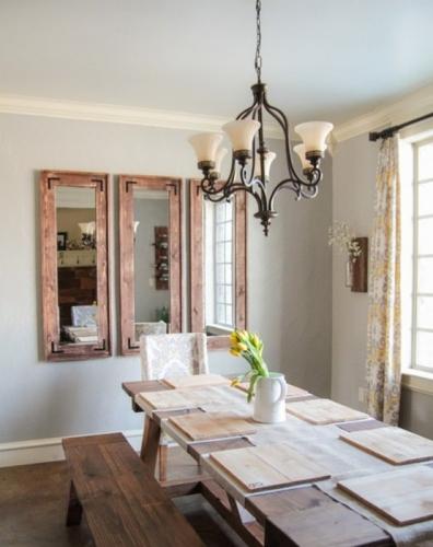 Rame masive din lemn de ferestre cu oglinzi pentru decor de living rustic