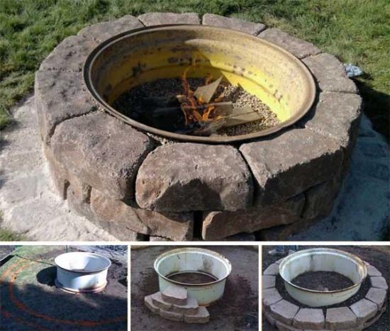 Tutorial in imagini cu foc de tabara decorativ din piatre si o janta de tractor