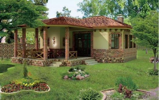 Foisor din caramida construit in prelungirea casei