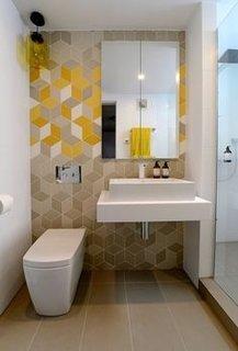 Tapet cu model geometric tridimensional pentru baie