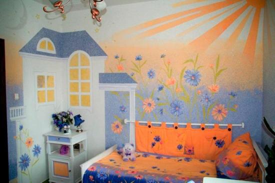 Decor camera copii cu tapet lichid