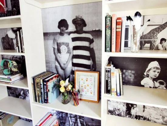 Fotografii folosite ca si decor pentru biblioteca