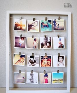 Rama de tablou inedita cu fotografii prinse cu clipsuri