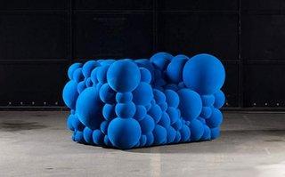 Fotoliu albastru cu bile model foarte comod