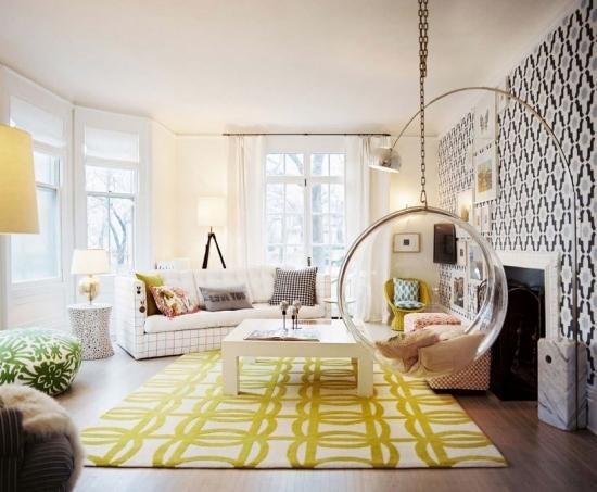 Balasoar sferic din fibra de sticla suspendat tavan living vintage