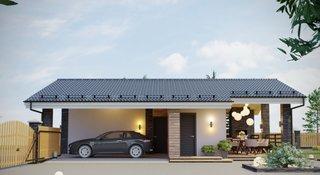Garaj acoperit cu terasa si gratar