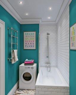 Idee de depozitare a masinii de spalat in baie