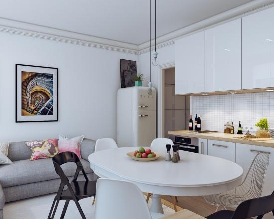Masa rotunda cu scaune desperecheate design modern pentru o bucatarie mica