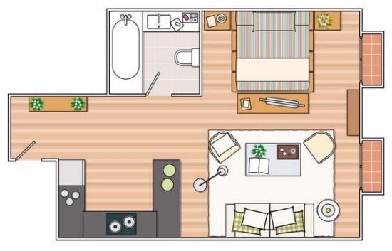 Schita apartament de 35 de metri patrati