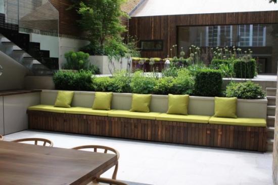 Banca de gradina cu spatar jardiniera din beton
