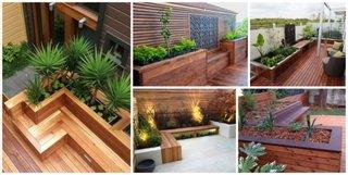 Modele de ghivece gradina construite din lemn sau ciment