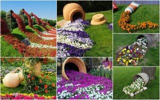 Idei de gradini decorate cu ghivece cu flori varsate