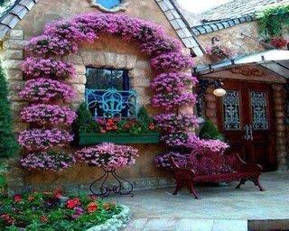 Perete casa decorat cu ghivece suspendate asezate in forma de arcada