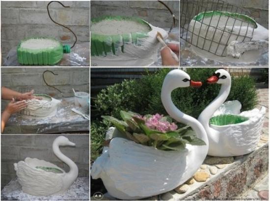 Faci Ghivece Flori Forma Lebada Sticla Plastic Obiecte Sticle