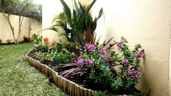Rond de flori amenajat pe peluza gazon