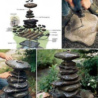 Crearea unui iaz cu apa curgatoare in gradina din pietre mari