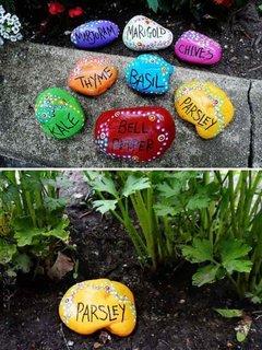 Etichete din pietre pentru gradina de zarzavat