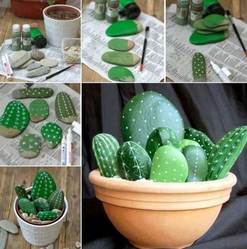 Ghivechi cu cactusi realizati din pietre vopsite