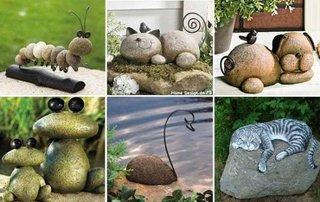 Ornamente de gradina in forma de animale realizate din pietre