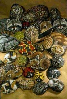 Pietre cu animale pictate pentru decorarea gradinii