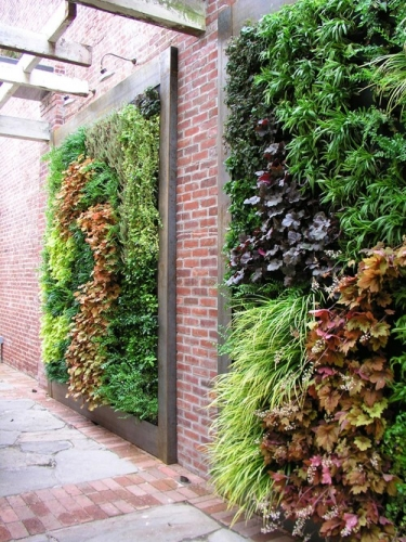 Gradina suspendata verticala in curte cu ziduri din caramida