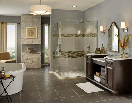 Decor baie moderna cu placi ceramice si piatra