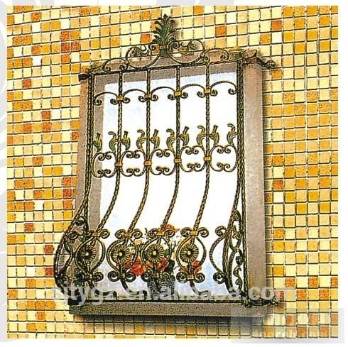Grilaj fereastra din fier forjat culoare aurie