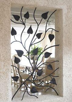 Grilaj fereastra ingusta fier fojat model cu frunze