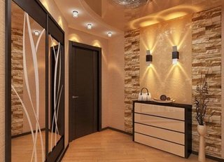 Hol intrare apartament decor cu piatra pe pereti