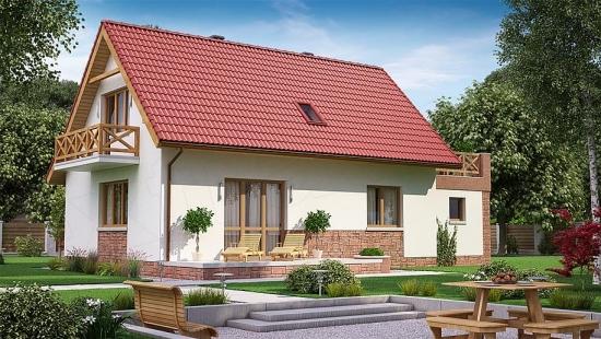 Casa cu acoperis si soclu rosii