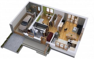Casa cu garaj simplu integrat