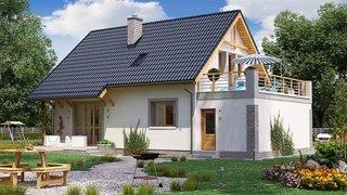 Model de casa cu mansarda si balcon tip terasa