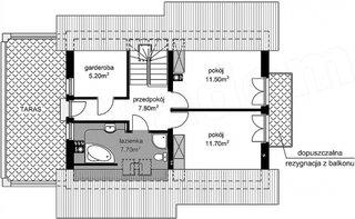 Plan mansarda casa varianta 1 cu 2 dormitoare