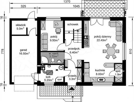 Plan parter varianta 1 cu garaj simplu