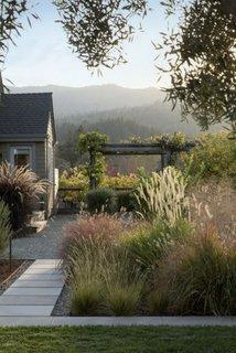 Casa cu gradina cu ierburi oranamentale inalte  si trotuar cu pietris