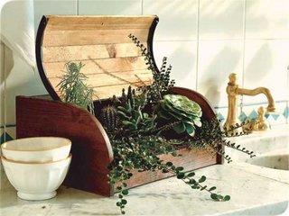 Ghiveci de flori dintr-o cutie veche si reconditionata pentru paine
