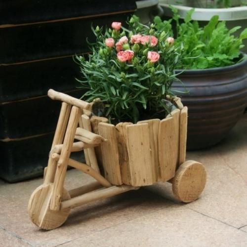 Trotineta din lemn decorativa suport pentru flori