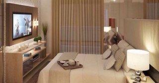 Idee amenajare dormitor mic cu televizor pe perete