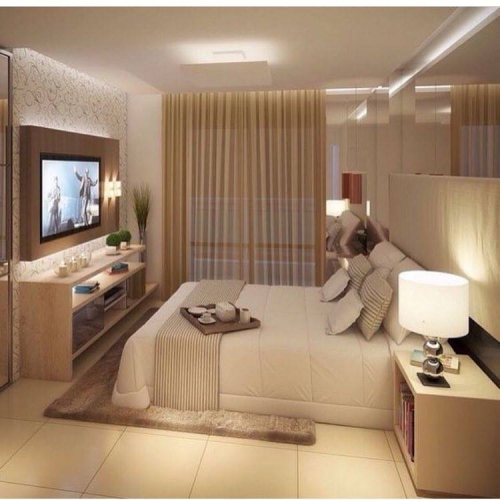 Idee amenajare dormitor micut in culori neutre