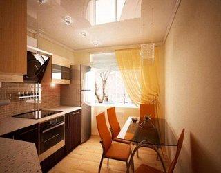 Bucatarie mica de apartament amenajata in tonuri neutre