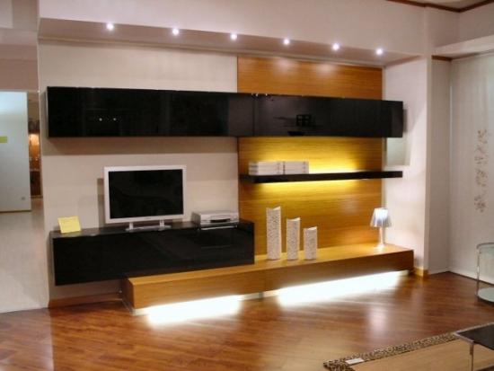 Mobila pentru sufragerie suspendata cu sticla neagra si lemn natur