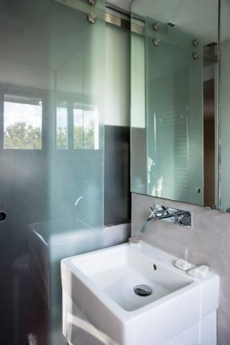 Partitia de sticla si oglinda marire vizuala a baii mici