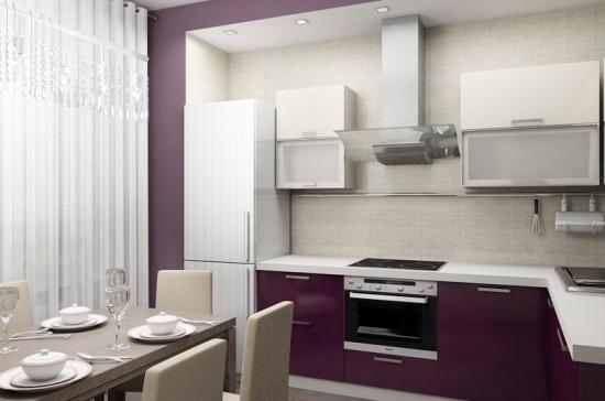 Bucatarie de apartament cu mobila mov inchis