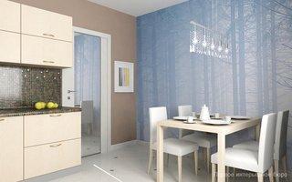 Bucatarie mica de apartament amenajat cu crem si maro si accente bleu pastel
